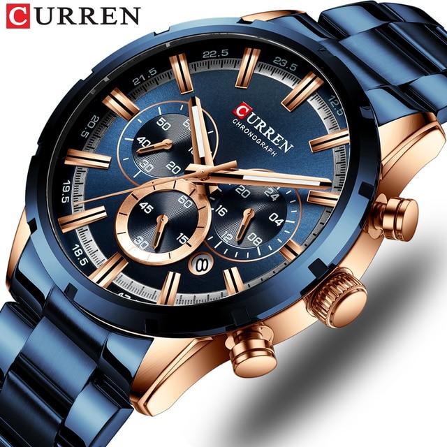 CURREN Relógios masculinos com aço inoxidável, a quartzo, com cronógrafo, esportivo, marca de luxo, nova moda em relógios de pulso para homens