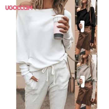 UGOCCAM White Blouse Women Long Sleeve Off Shoulder Shirt Casual Loose Women Tee Top Streetwear Plus Size roupas feminina 3