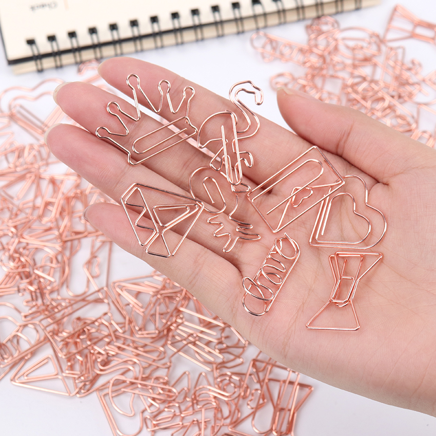 5 PCS Cute LOVE Modeling Bookmark Paper Clip School Office Supply Metal Plating Rose Gold Paper Clip Gift Stationery