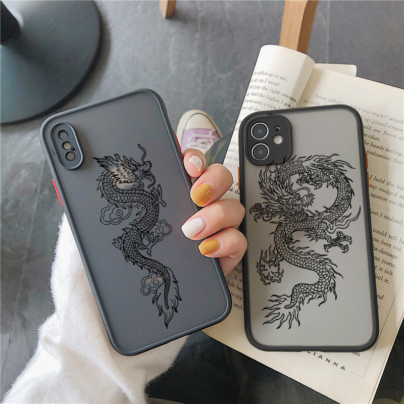 KJOEW Case For iPhone 12 11 Pro Max XS Max XR X 12 Mini 7 8 Plus SE 2020 Matte Dragon God Pattern Clear Bumper Shockproof Cover
