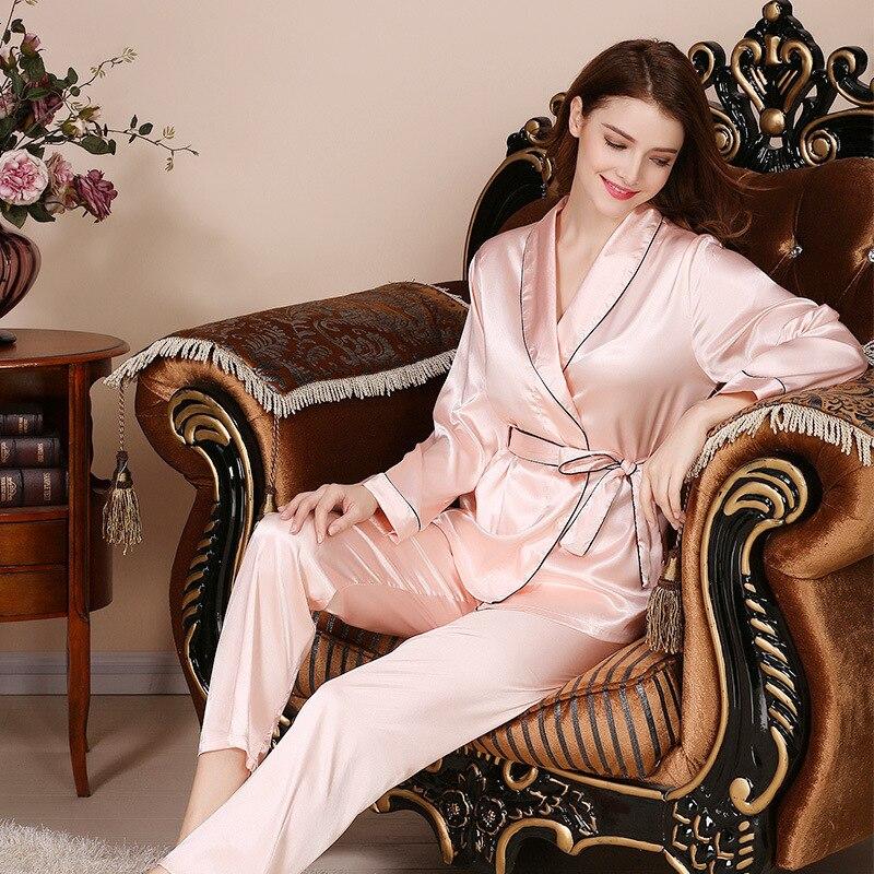 New Products Women's Imitated Silk Fabric Pajamas Suit Covered Edge Silk Pajamas Victoria Asian Wind Sexy Pajamas