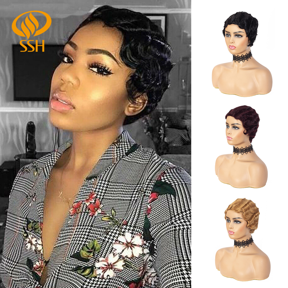 SSH Finger Wave Wigs For Black Women 100% Brazilian Remy Real Hair Short Pixie Cut Wig Human Hair Retro Style Wig