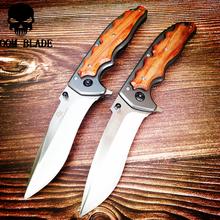 230mm 5CR15MOV ostrze szybkie otwieranie noże przenośny nóż taktyczny składany kolor drewna uchwyt Camping survivalowe noże kieszonkowe na zewnątrz tanie tanio Doom Blade Elektryczne CN (pochodzenie) WOOD STEEL 57HRC Nóż szwajcarski