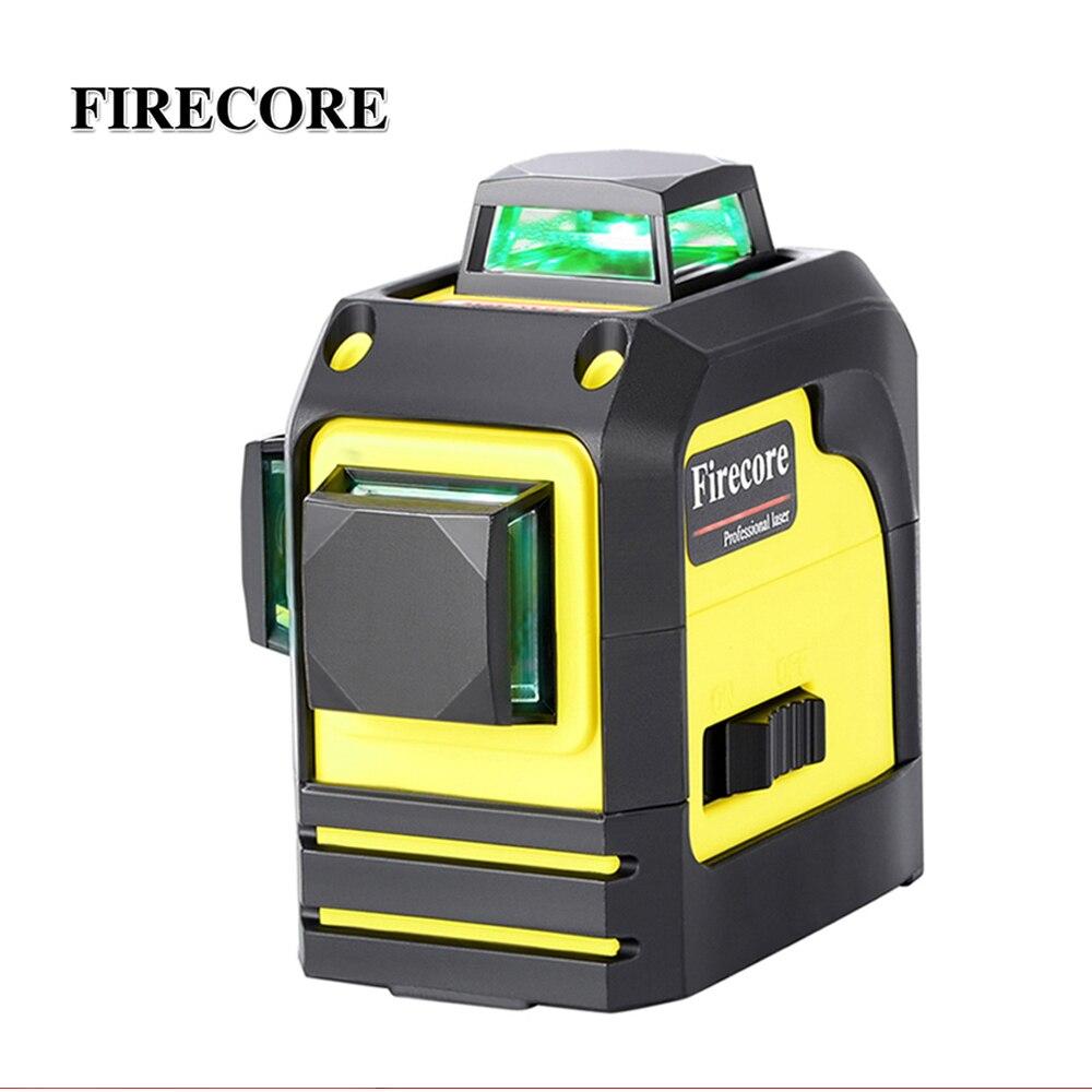 FIRECORE 3D F93TG 12 линий зеленый лазерный уровень самонивелирующийся 360 горизонтальный и вертикальный крест супер мощный зеленый лазерный луч линии