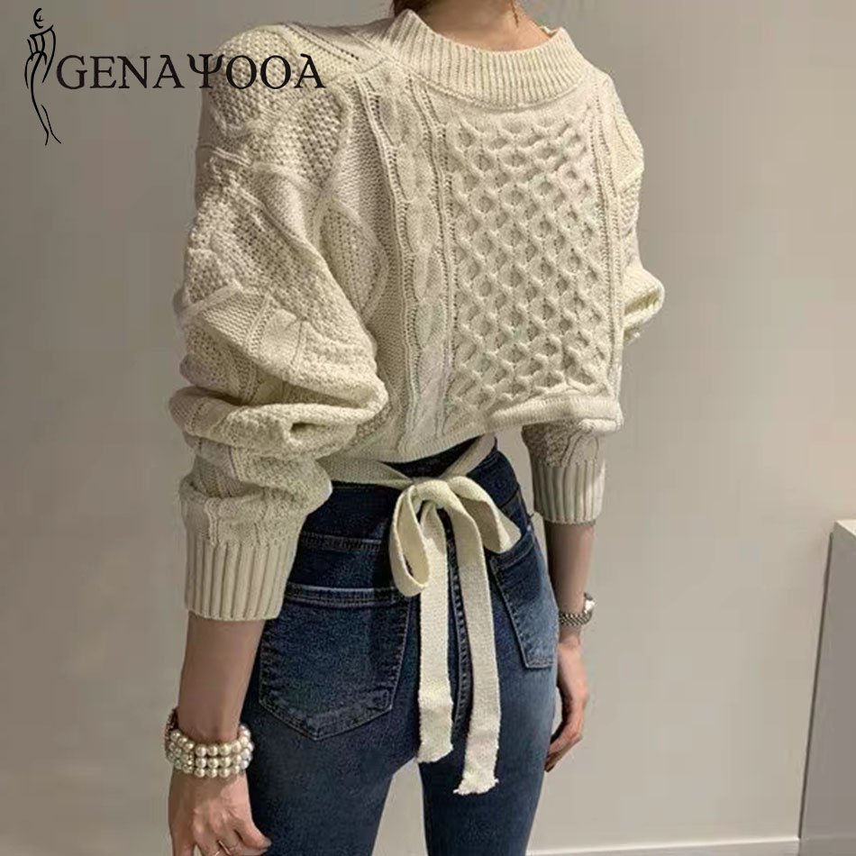Genayooa Knitted 2019 Autumn Winter Sweater Women Sweaters And Pullovers Pull Femme Long Sleeve Lace Up Black Jumper Female Tops