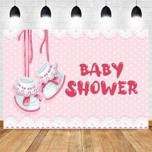 Baby shower фон для фотосъемки обувь розового цвета с надписью
