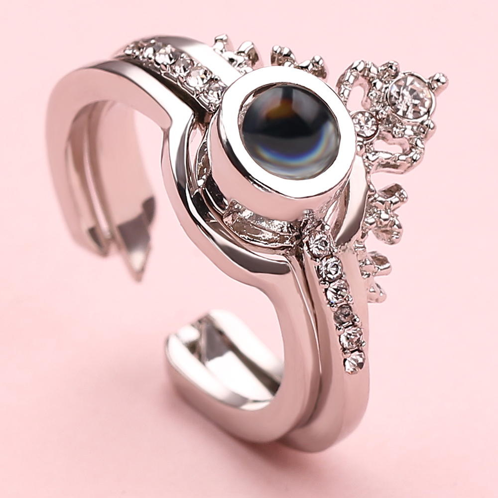 Rose Gold & Silver Queen Ring 100 Languages I Love You Projection Ring Romantic Love Memory Wedding Ring Jewelry Lovers Wedding(China)