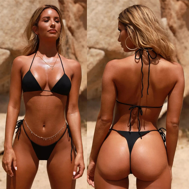 High Waist Bikini 2020 String Bikini New Solid Color Swimsuit Strap Sexy Split Swimming Suit 2 Piece Sets Womens 3