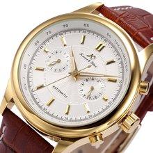KS Luxury Brand Black Gold Relogio Auto Date Display Leather Strap Clock Automat