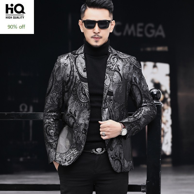 Top Brand Genuine Leather Sheepskin Personality Printed Mens Blazers Long Sleeve Single Breasted Slim Casual Blazer Plus Size