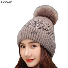 купить Fashion Women Leopard Ball Pompom Hat Rabbit Fur Beanie Winter Warm Crochet Beanie Hedging Cap Beanie Hat For Women gorras по цене 437.68 рублей