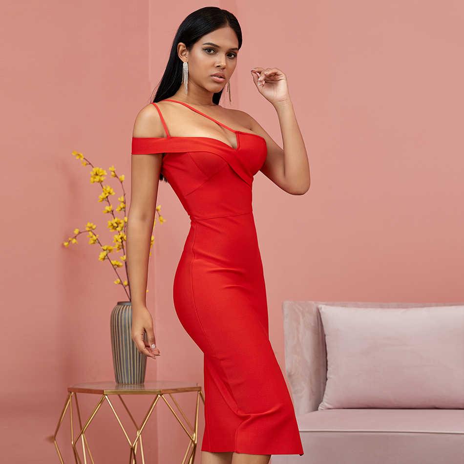 2019 קיץ אלגנטי תחבושת גבירותיי שמלות אדום ספגטי רצועת כתף אחת שמלת סתיו סקסי עמוק V לילה מסיבת נשים Vestidos