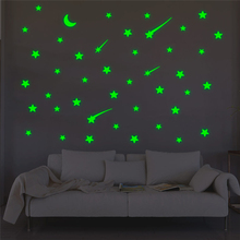 creative meteor stars moon luminous on wall stickers for kids rooms home decor green glow in the dark fluorescent wall decals