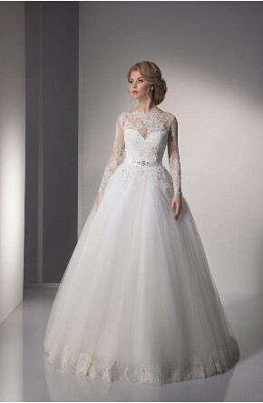 O-neck Vestido De Noiva Long Sleeve Button Floor Length Tulle And Applique 2018 Lace Bridal Gown Mother Of The Bride Dresses