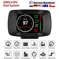Ordenador de viaje Digital automático OBD2, pantalla HUD Head Up, GPS, velocidad, consumo de combustible, alarma de temperatura, indicador OBD