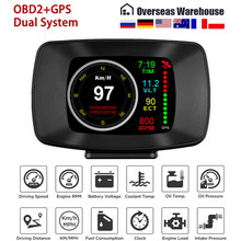 Samochód OBD2 komputer pokładowy Auto cyfrowy komputer pokładowy wyświetlacz Head Up HUD prędkość GPS zużycie paliwa Alarm temperatury OBD Gauge