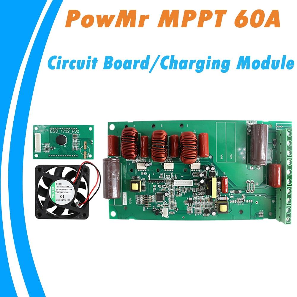 PowMr MPPT 60A контроллер печатная плата на солнечной батарее 12 В 24 в 36 в 48 в автоматический зарядный модуль с экраном и вентилятором DIY New