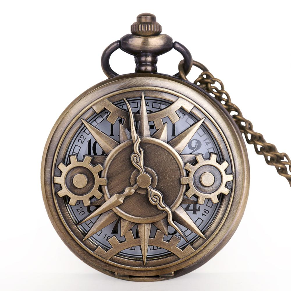 Antique Quartz Pocket Watch Half Hunter Gear Wheel Bronze Pendant Exquisite Pocket Necklace Watches With FOB Chain Gifts