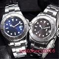 40 мм bliger стерильный синий серый циферблат с датой сапфировое стекло  автоматические мужские часы