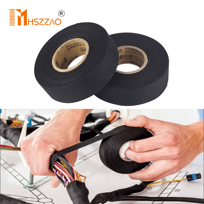 Automotive Wiring Harness Cloth Tape Car Anti Rattle Universal Black Flannel Self Adhesive Felt Tape Length15M 25M