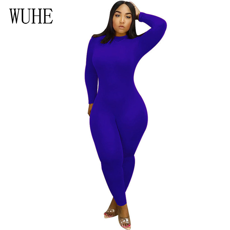 WUHE One Piece Outfits Bodycon Jumpsuits Long Sleeve O Neck Skinny Casual Sportswear Slim Romper Women Elegant Solid Overalls