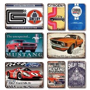 Shelby Cobra 427 Metal Tin Poster Sign Vintage Car Sign Garage Man Cave Decoration Nostalgic Tin Sign Art Wall Sticker Plaques