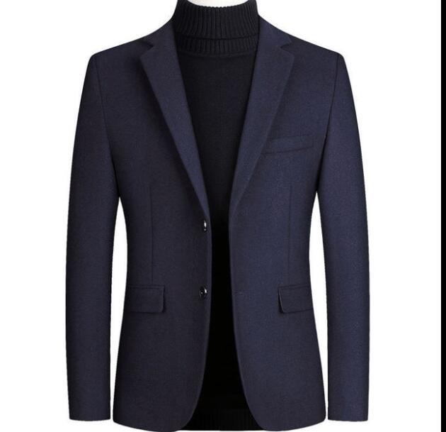 Hot Sale Autumn Long Wool Coat Men Fashion Turn-down Collar Wool Blend Double Breasted Pea Coat Jacket Men Brand Overcoats J-M7