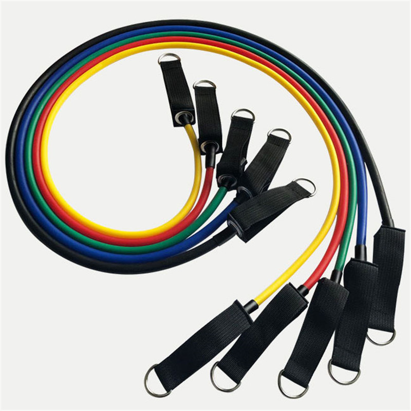 11pcs set Pull Rope Fitness Exercises Resistance Bands 5cTPR elastic Tubes  17