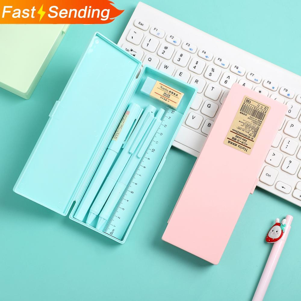 JIANWU 1set Macaron Stationery Box With Pen Ruler Eraser Multifunction Large Capacity Pencil Box Gel Pen 6 In 1 School Supplies
