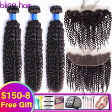 Bling Hair mechones rizados brasileños con cierre, 100% Frontal de encaje 13x4, extensiones de cabello humano mechones Remy con Color Natural Frontal