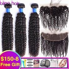 Bling saç brezilyalı Kinky kıvırcık demetleri ile kapatma 13X4 dantel Frontal % 100% Remy İnsan saç demetleri ile Frontal doğal renk