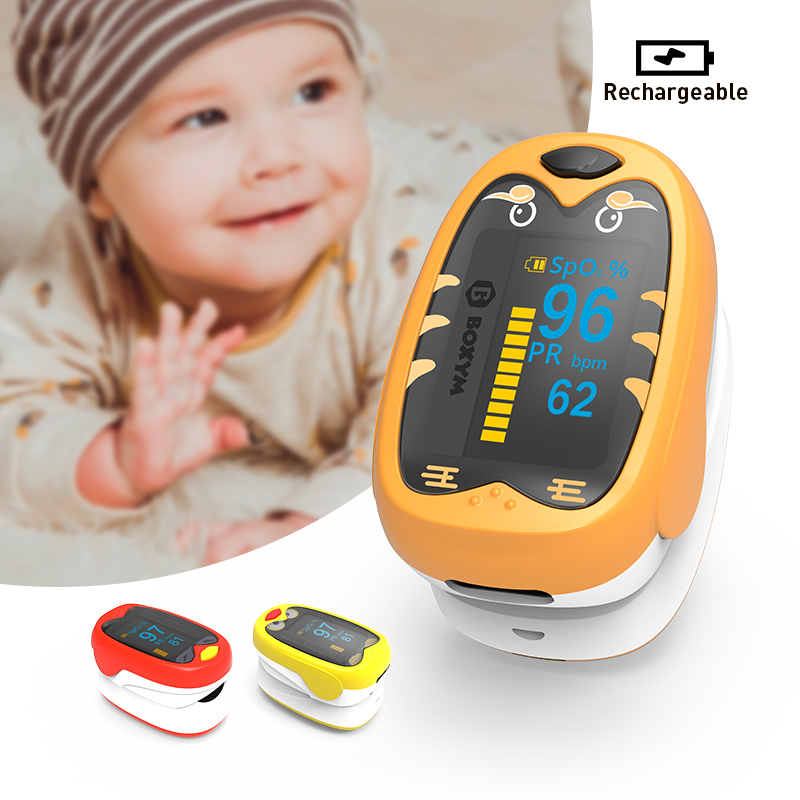 BOXYM Baby Finger Pulse Oximeter Pediatric Oximetro De Dedo SpO2 PR OLED Rechargeable Neonatal Children Kids Pulsioximetro CE