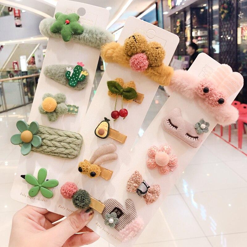 5/6/10Pcs/Set New Girls Cute Cartoon Fruit Flower Hair Clips Children Baby Knitting Plush Soft Hairpins Kids Hair Accessories