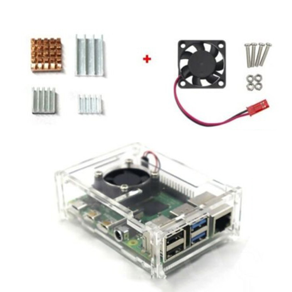 Купить с кэшбэком For Raspberry Pi 4 Model B Acrylic Case Enclosure Box W / Cooling Fan Heatsink