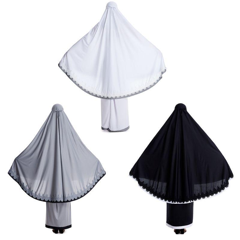 2pcs Muslim Women Robe Mosque Bat Long Sleeve Lace Hijab Festival Gown