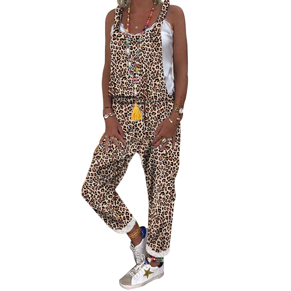 Women Casual Regular Fit Leopard Print Jumpsuit Lady Camouflage Overalls Rompers High Street Streetwear