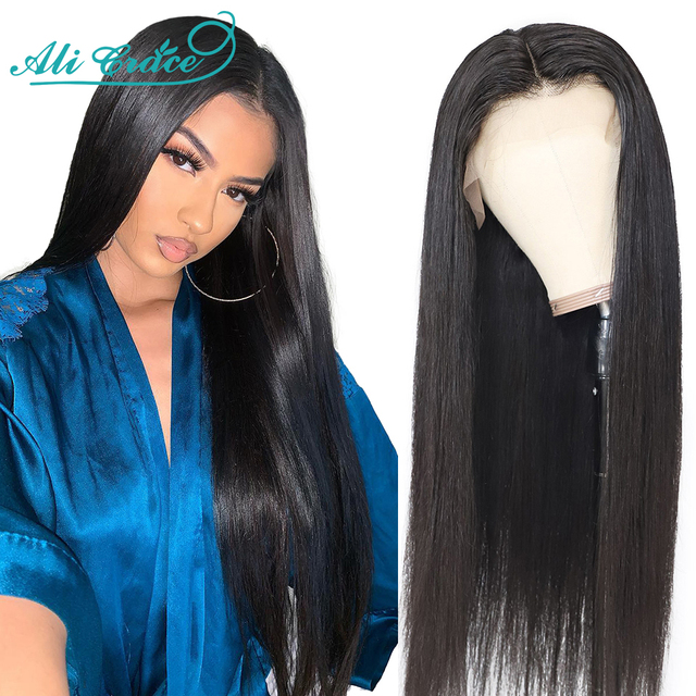Ali Grace Peruvian Straight 360 Lace Frontal Wigs with Baby Hair Straight Hair Wigs Pre-plucked 13×4 Human Hair Wigs Free Ship