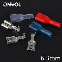 100pcs 6.3 milímetros 50 Crimp Terminal Feminino Spade Conector com Caso 50