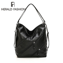 Herald Fashion Multi Zipper Women Shoulder Bag Hobos Bags Quality Soft Leather Handbag Vintage Office 2019