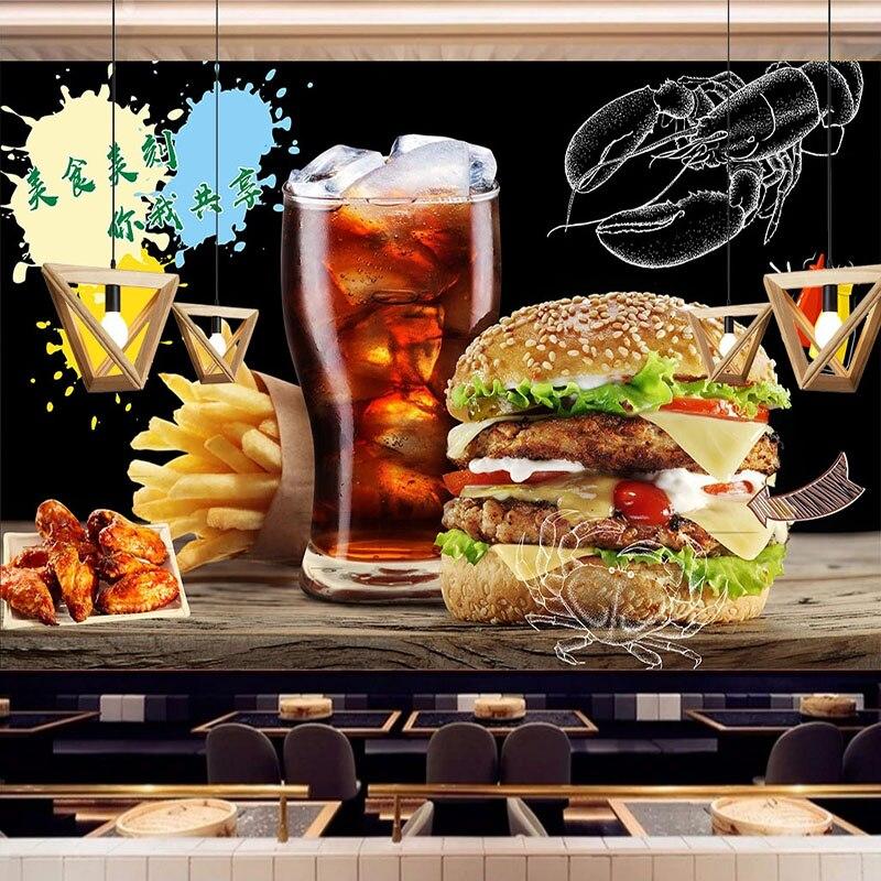 3D Wallpaper Hand Painted Hamburger Fast Food Restaurant Background Wall Painting Photo Wall Murals Papel De Parede 3D Paisagem