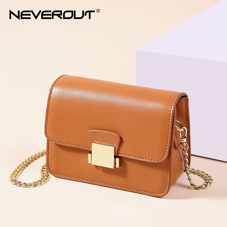 NEVEROUT Small Evening Bag Solid Leather Crossbody Bags for Women Messenger Bag Fashion Mini Flap Luxury