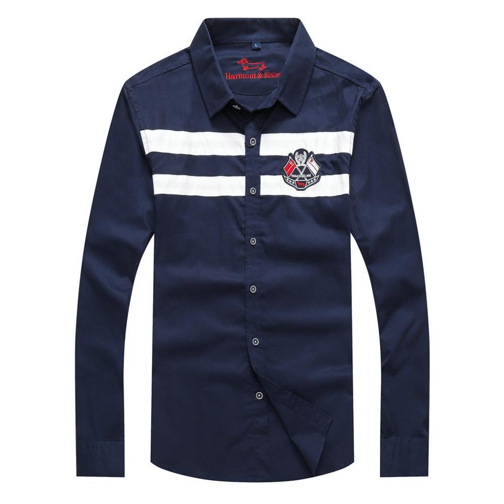 Good Quality 2020 Men Clothing Blouse Casual Business Patchwork Shirt Brand Harmont&Blaine Blouses Fashion Men's Dress Shirts