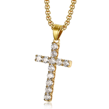Hip Hop Iced Out CZ Bling Cross Pendant Necklaces For Men/Women Gold Color Stainless Steel Chain Christian Jewelry Dropshipping hip hop iced out bling horse head pendants necklaces for men gold color stainless steel round cz necklace jewelry dropshipping
