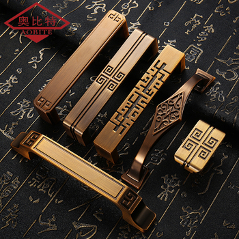 AOBT Solid Brass Cabinet Handle Yellow Bronze Antique Handles Pulls Chinese Style Door Furniture Handles Knobs Hardware 6072 цена 2017