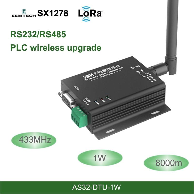 Émetteur-récepteur rf DTU d'interface LoRa 433MHz SX1278 RS485 RS232 8km Module uhf sans fil unité de transmission de données de qualité industrielle 433M