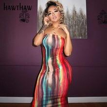 Hawthaw – robe longue d'été sans bretelles, imprimée, moulante, sans manches, pour femme, tenue de soirée ou de Club, 2021