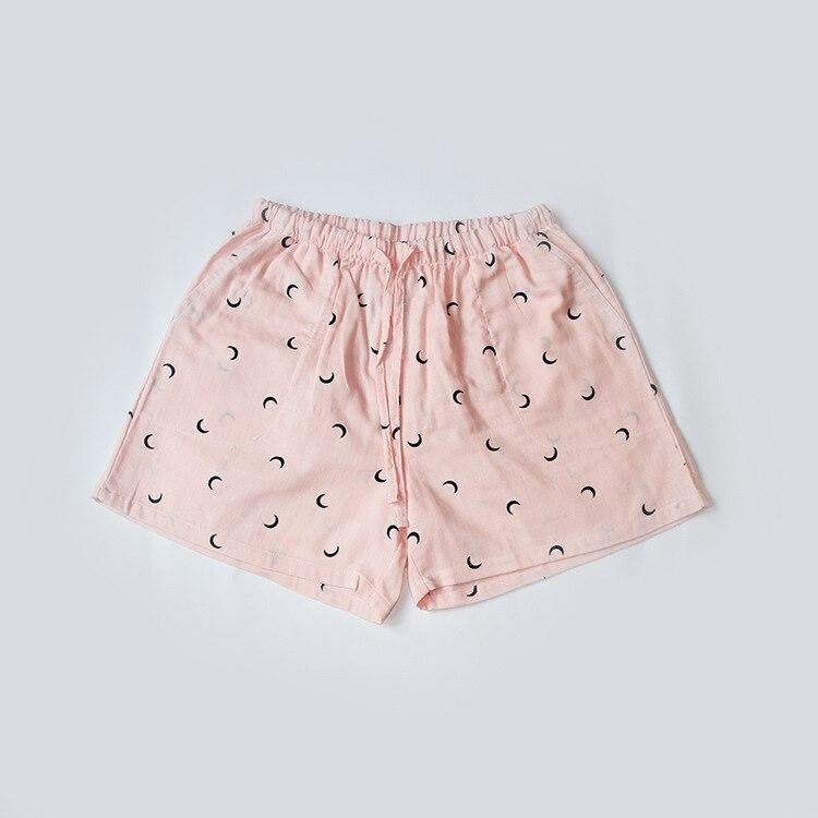Летние женские Пижамные шорты, хлопковые газовые пижамы, штаны с принтом, штаны для сна, одежда для сна, женская одежда для сна - Цвет: Moon pink