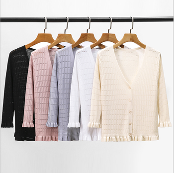 JINKAZI Women's knitted cardigan 2020 summer sunscreen ice flounce edge 7-sleeve air conditioning shirt thin coat flounce trim belted coat