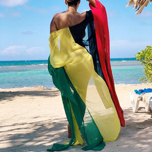 Image 4 - 2020 Chiffon Beach Cover Up Jurk Robe De Plage Badpak Cover Ups Pareos De Playa Mujer Bikini Cover Up beachwear Tuniek