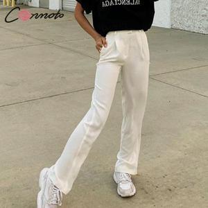 Image 2 - Conmoto pantalon à jambes larges pour femmes, style vintage, style décontracté, taille haute, long, automne 2019